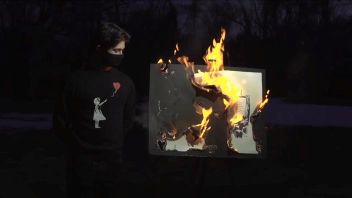 Fantôme dans la machine : une gravure de Banksy brûlée devient une authentique œuvre numérique - Le Figaro