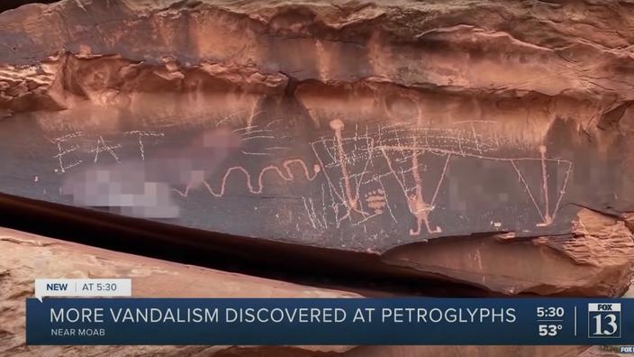 Aux États-Unis, des pétroglyphes amérindiens recouverts de graffitis suprémacistes blancs