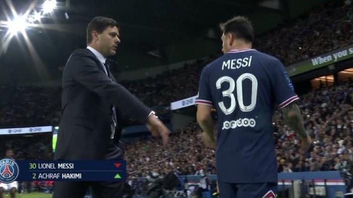 PSG-Lyon: remplacé en fin de match, Messi ignore Pochettino et ne cache pas son mécontentement