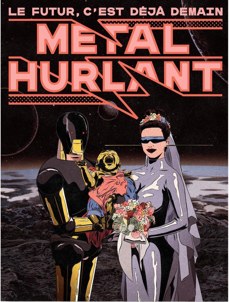 La couverture du nouveau Métal Hurlant signée Ugo Bienvenu montre un élégant robot noir et or, à la noce avec une jeune femme dans une robe de mariée en forme de tenue métallique pour le moins ajustée, arborant des lunettes de soleil futuristes.
