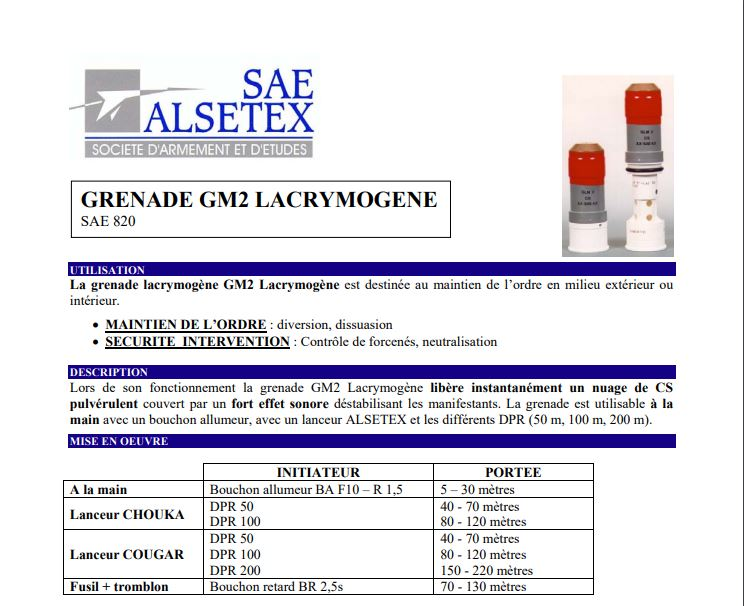 Maintien de l'ordre : la GLI-F4 remplacée par la GM2L, une grenade aux effets similaires