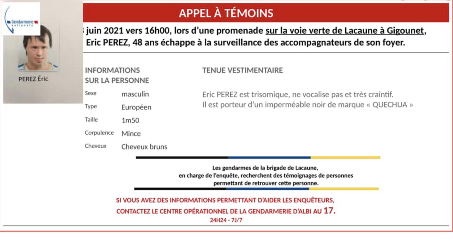 Tarn : un quadragénaire trisomique disparu près de Lacaune, un appel à témoins lancé