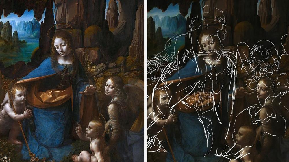L'esquisse cachée derrière la Vierge aux rochers londonienne de Vinci révélée
