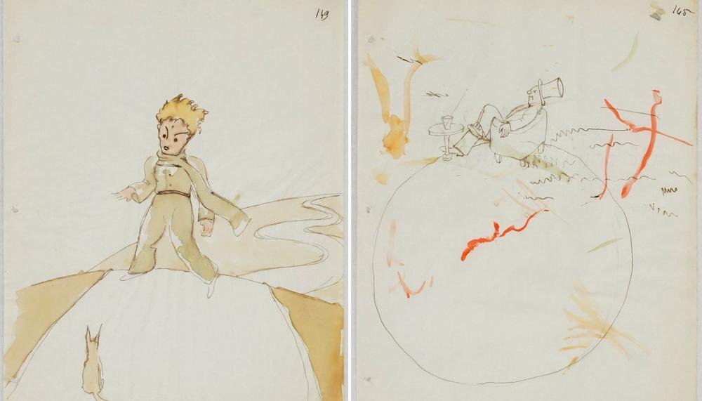Trois esquisses originales des illustrations du Petit Prince retrouvées