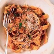 Les recettes d'Alexia Duchêne: sucrine grillée, pappardelle au ragoût de bœuf, crème brûlée aufoin