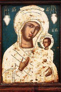 Cette  <i>Vierge à l'enfant </i>est une des peintures exposées dans le musée du monastère franciscain de Hvar.