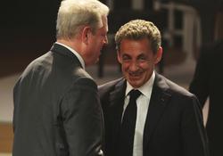 Al Gore et Nicolas Sarkozy, tout sourire.