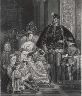 Henri II et Catherine de Médicis avec leurs enfants. Gravure par Outhwaite d'après Alfred Johannot.