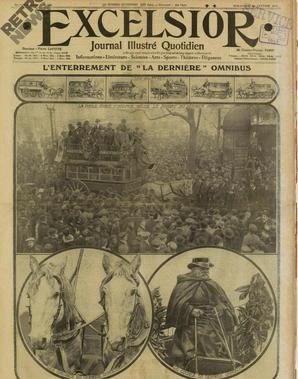 L'enterrement du dernier omnibus hippomobile le 12 janvier 1913 à Paris.