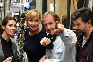 Virginie Visconti, Julie Ferrier, Didier van Cauwelaert,Stéphane Plaza,l'équipedu film J'ai perdu Albert.