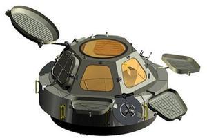 la maquette grandeur nature de la Cupola, le dôme d'observation installé à bord de l'ISS.