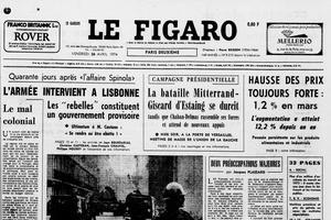 Une du «Figaro» du 26 avril 1974 annonçant un soulèvement militaire au Portugal –début de la Révolution des oeillets.