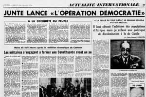 Extrait du «Figaro» du 27 avril 1974, relatif au putsch qui renversa le régime salazariste de Marcelo Caetano, deux jours auparavant.