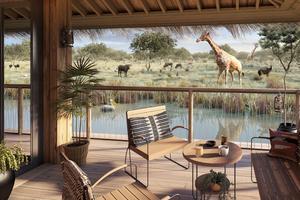 Terrasse d'un lodge de Planète Sauvage (photo de synthèse).