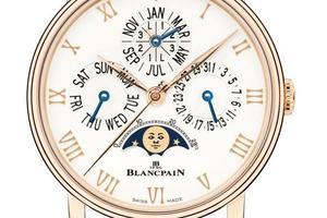 La reproduction des cycles lunaires associée à un quantième perpétuel, à l'instar de ce modèle Villeret, est une des spécialités de la manufacture Blancpain.