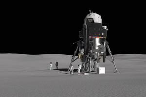 Vue d'artiste du projet de module d'alunissage de Lockheed Martin, qui pourrait servir au programme Artemis de la Nasa, pour renvoyer des astronautes vers notre satellite.