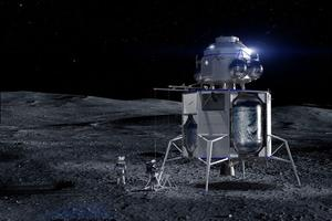 Vue d'artiste du cargo lunaire Blue Moon de la société Blue Origin, coiffé d'un module de remontée.
