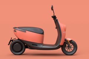 La forme globale de l'engin fait penser à celle des scooters Gogoro.
