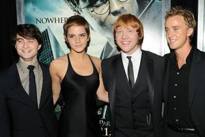 Daniel Radcliffe, Emma Watson, Rupert Grint et Tom Felton lors de l'avant-première d'«Harry Potter et les Reliques de la Mort - partie 1».