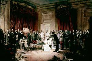 Tableau peint par Henry Cond'Amin, figurant la mort du président Sadi Carnot à la préfecture de Lyon en juin 1894.