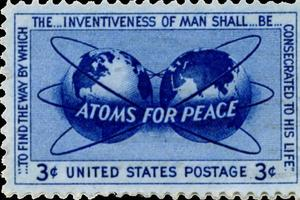 Un timbre américain «Atoms for Peace».
