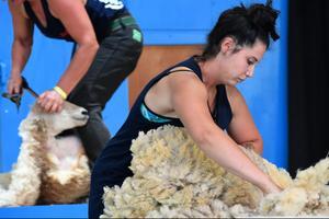Amelia Seifert, des États-Unis, participe à la gestion de la laine au 18e championnat mondial de tonte des moutons.