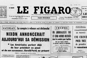 Une du «Figaro» du 9 août 1974 annonçant la possible démission du président des États-Unis Richard Nixon.
