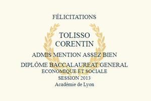 Le diplôme de baccalauréat de Corentin Tolisso