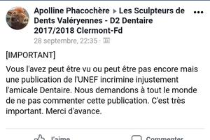 Le post Facebook demande aux étudiants de ne pas commenter la publication de l'Unef. Cc Brieuc Bdg