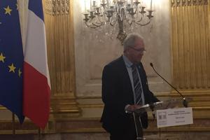 Michel Guisembert est l'ancien président des Compagnons du devoir et actuel président de Worldskills France, organisateur des Olympiades des métiers (ici à l'hôtel de Lassay le 15 mai 2019).