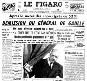 Une du «Figaro» du 28 avril 1969 annonçant le départ du pouvoir de Charles de Gaulle, alors président de la République française.
