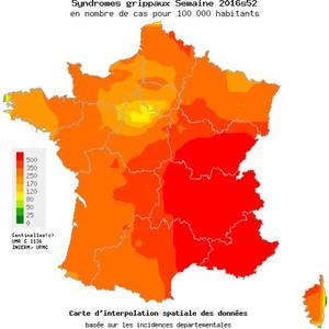 Taux d'incidence départementaux des syndromes grippaux du 26 décembre au 1er janvier (pour 100.000 habitants) - Source Réseau Sentinelles