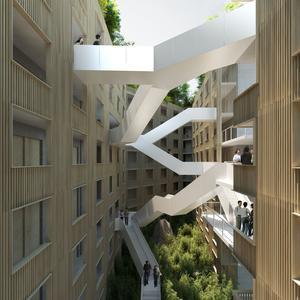 Les escaliers de la future résidence chinoise.