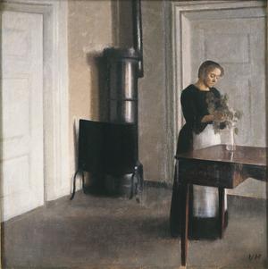 Vilhelm Hammershoi,  <i>Intérieur avec une femme plaçant des branches dans un vase (détail),</i> 1900.