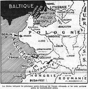 Carte parue dans Le Figaro du 2 septembre 1939 figurant Dantzig et les principaux points d'attaque de l'armée allemande sur le territoire polonais.