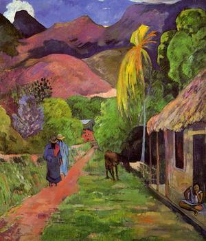 Une rue de Tahiti, tableau de Paul Gauguin peint en 1892. Musée des arts Tolède.