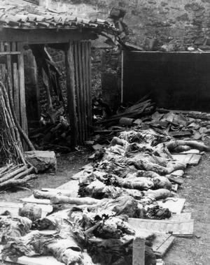 Corps de victimes après le massacre, le 10 juin 1944, des villageois d'Oradour-sur-Glane, en Haute-Vienne.