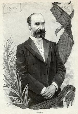 Un portrait commémoratif du président Sadi Carnot (1837-1894), réalisé peu après son assassinat à Lyon.