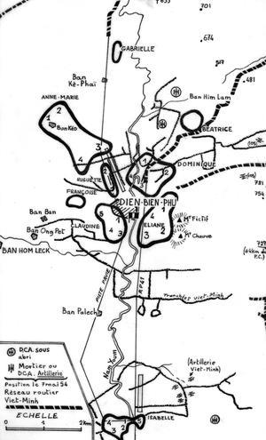 Guerre d'Indochine: carte indiquant les positions françaises et Viêt-minh lors l'assaut final de la bataille de Diên Biên Phu le 7 mai 1954.