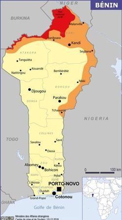 La carte du ministère des Affaires étrangères, lorsque les otages ont été enlevés, avant le 10 mai 2019.