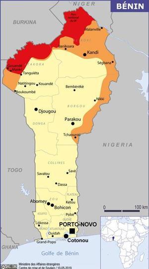 La carte du ministère des Affaires étrangères, lorsque les otages ont été enlevés, après le 10 mai 2019.