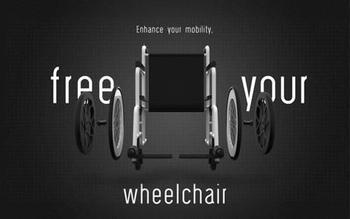 Freewheelchair est un système de roues adaptable à tous les fauteuils roulants.