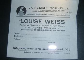 Bulletin de vote Louise Weiss au musée de Saverne. CC BY-SA 3.0
