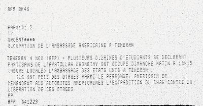 La dépêche urgente de l'Agence France-Presse annonçant la prise de l'ambassade américaine.