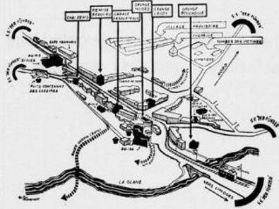Plan du village d'Oradour –paru dans Le Figaro du 7 juin 1949: en noir l'église, les granges et le garage, où la population fut tuée par les SS, le 10 juin 1944. En pointillé, le trajet accompli, pendant que le village brûlait, par des rescapés. En haut le village provisoire et la chapelle élevée près des ruines.