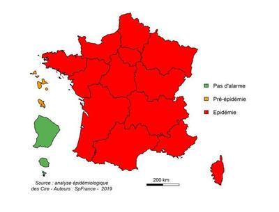 Toute la France métropolitaine est en phase épidémique