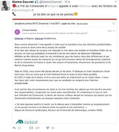Une militante s'insurge de la consigne de vote du président de l'unversité d'Angers.