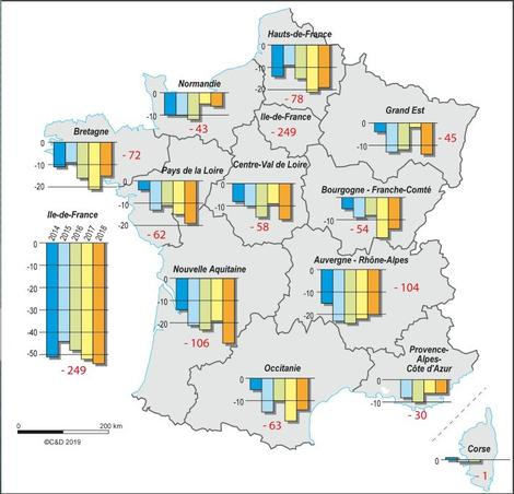 Carte fermeture d'officines en France.