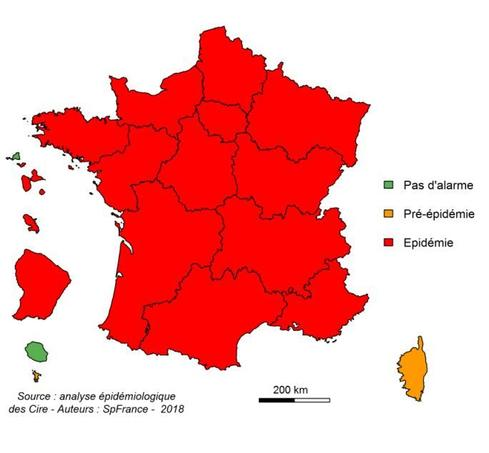 Niveau d'alerte par région entre le 25 et le 31 décembre 2017.