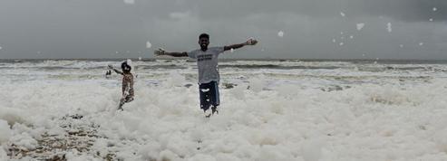 Inde: quelle est cette étrange mousse qui s'accumule sur les plages?